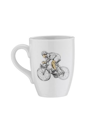Kütahya Porselen Sporcu Mug Bardak Bisiklet Renkli